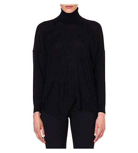 STELLA MCCARTNEY Turtleneck wool and silk-blend jumper (Black