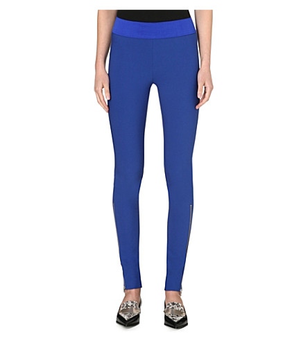 STELLA MCCARTNEY Ankle-zip jersey leggings (Blue