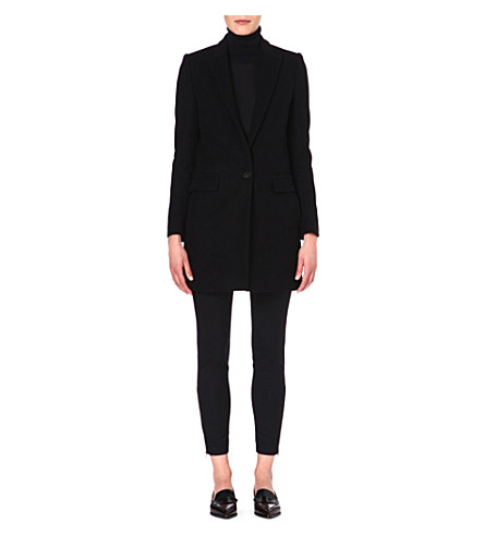 STELLA MCCARTNEY Single-breasted wool-blend coat (Black