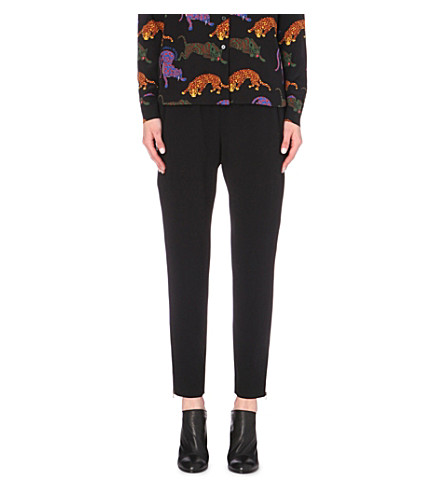 STELLA MCCARTNEY Tamara tapered stretch-crepe pants (Blk
