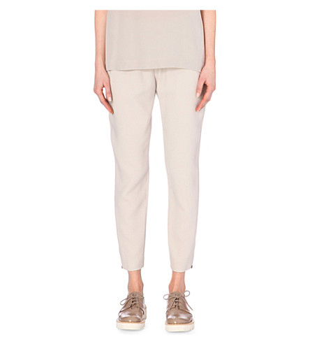 STELLA MCCARTNEY Cropped crepe trousers (Fog