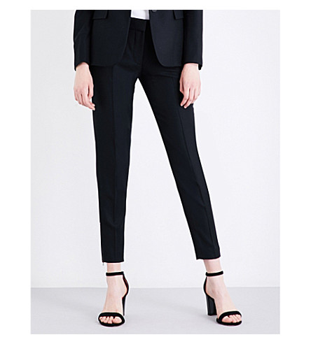 STELLA MCCARTNEY Vivian tapered wool-piqué trousers (Black