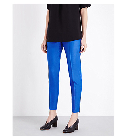 STELLA MCCARTNEY Vivian tapered wool-piqué trousers (Cornflower