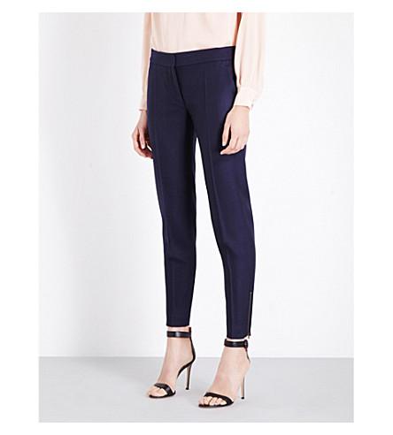 STELLA MCCARTNEY Vivian tapered wool-piqué trousers (Ink