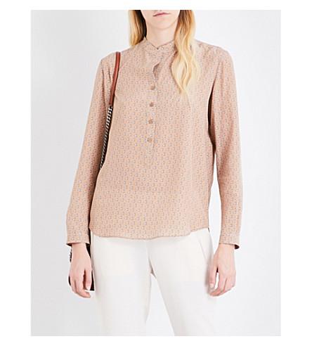STELLA MCCARTNEY Eva dog-print silk crepe shirt (Camel+dog+prt