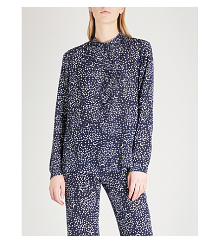 STELLA MCCARTNEY Star-print silk shirt (Navy