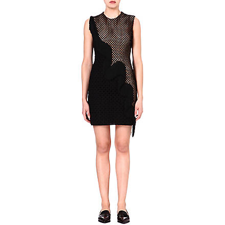 STELLA MCCARTNEY Mesh-panel fringed dress (Black