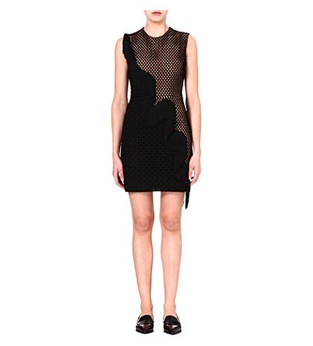 STELLA MCCARTNEY Mesh-panel fringed dress (Black