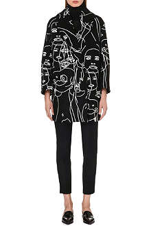 STELLA MCCARTNEY Embroidered face-detail coat