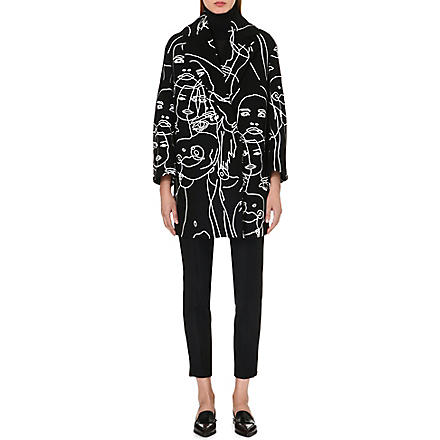 STELLA MCCARTNEY Embroidered face-detail coat (Black