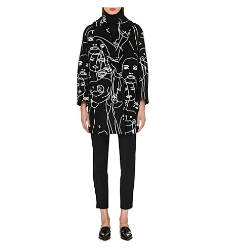 STELLA MCCARTNEY Embroidered face-detail coat (Black