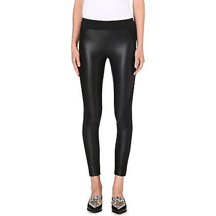 STELLA MCCARTNEY Faux-leather and jersey leggings (Black