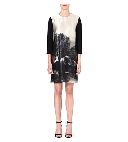 STELLA MCCARTNEY Forest-print silk dress (Grey