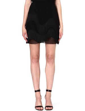 STELLA MCCARTNEY Fringed open-knit skirt