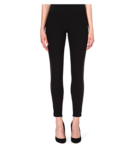STELLA MCCARTNEY Open-knit leggings (Black