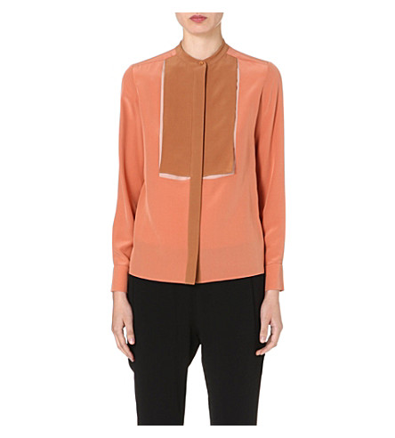 STELLA MCCARTNEY Contrast-panel silk blouse (Pink