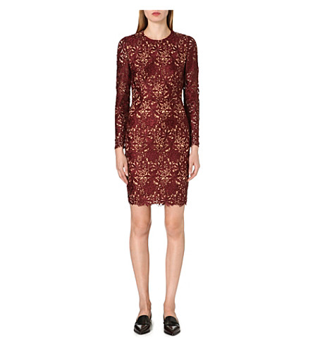 STELLA MCCARTNEY Long-sleeved lace dress (Burgundy