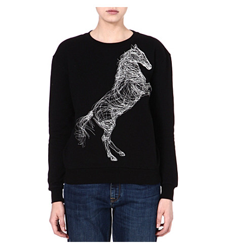 STELLA MCCARTNEY Horse-embroidered sweatshirt (Black