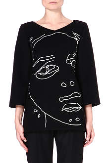 STELLA MCCARTNEY Faces wool-blend top
