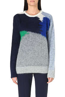 STELLA MCCARTNEY Bi-colour mohair-blend jumper