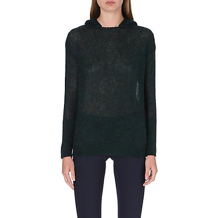 STELLA MCCARTNEY Hooded open-knit jumper (Petroleum
