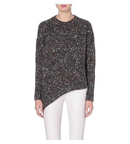 STELLA MCCARTNEY Asymmetric mixed knit jumper (Charcoal