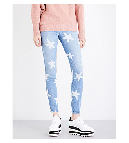 STELLA MCCARTNEY Star-print skinny mid-rise jeans (Classic+blue