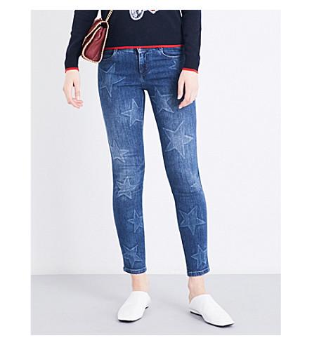 STELLA MCCARTNEY Star-pattern slim-fit skinny jeans (Blue+denim