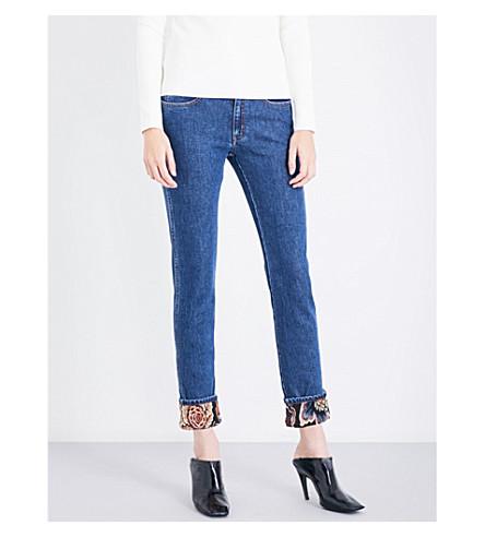 STELLA MCCARTNEY Boyfriend-fit mid-rise floral-cuffs jeans (Blue+denim