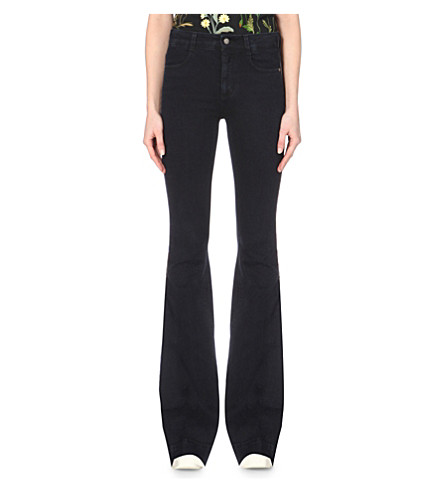 STELLA MCCARTNEY Flared mid-rise jeans (Blue+black