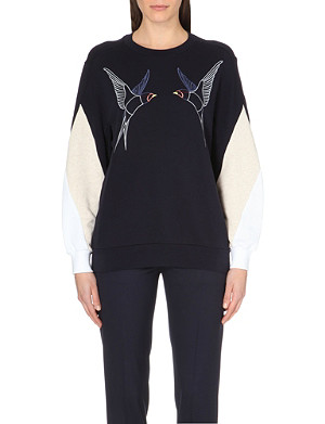 STELLA MCCARTNEY Swallow-embroidered cotton-jersey sweatshirt