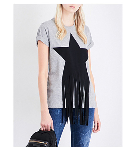 STELLA MCCARTNEY Star-fringe cotton-jersey T-shirt (Grey