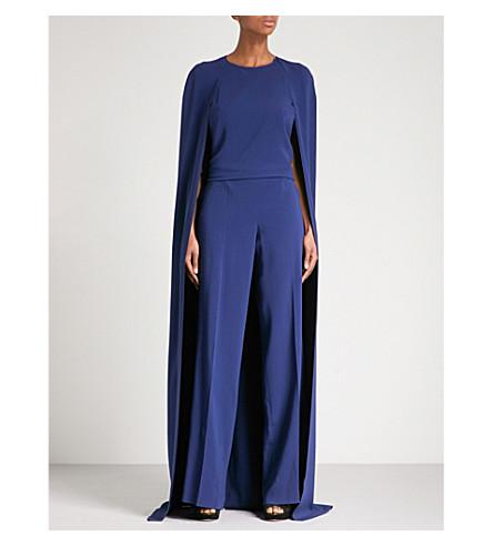 STELLA MCCARTNEY Cape-panel silk-crepe jumpsuit (Blue