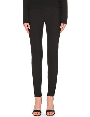 STELLA MCCARTNEY Embroidered stretch-crepe trousers