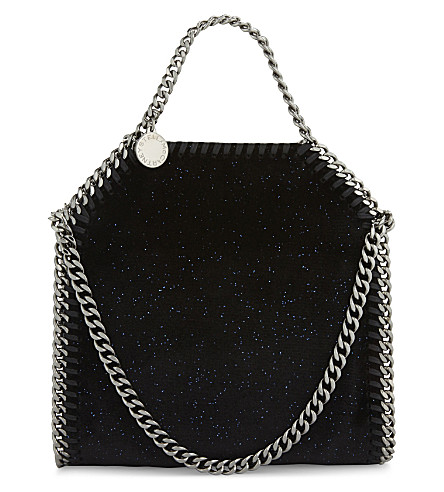 STELLA MCCARTNEY Falabella glitter mini tote (Black/navy