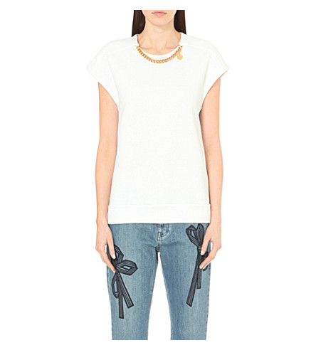 STELLA MCCARTNEY Chain-detail jersey top (Pure+white