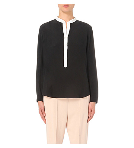 STELLA MCCARTNEY Contrast-placket silk shirt (Black