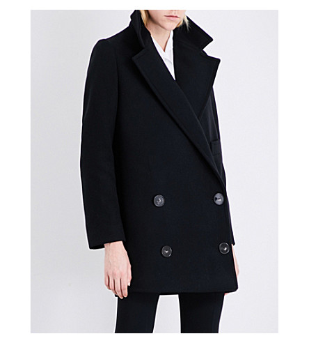 STELLA MCCARTNEY Double-breasted wool-blend coat (Black