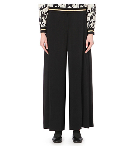 STELLA MCCARTNEY Wide-leg stretch-crepe trousers (Black