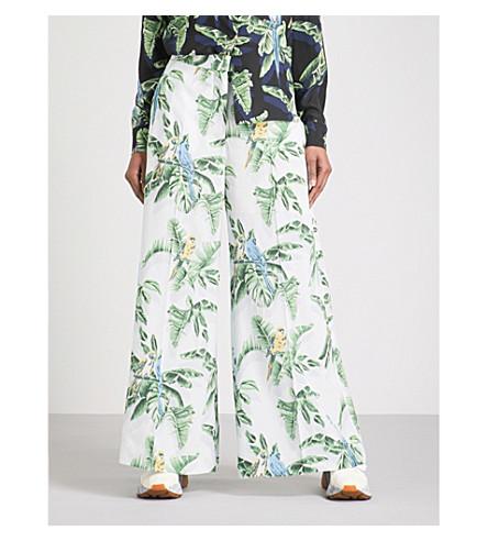 STELLA MCCARTNEY Tropical-print silk wide-leg trousers (Pale+blue