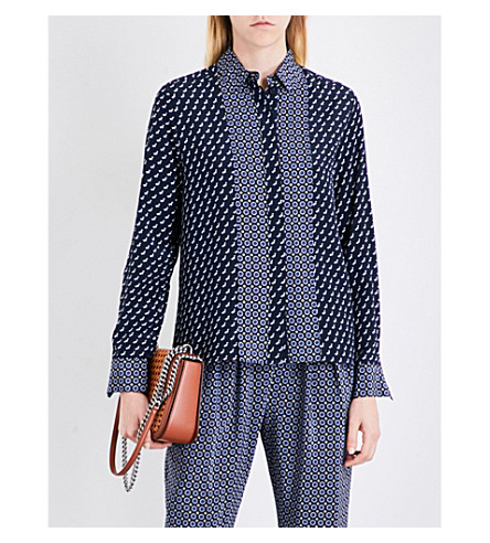 STELLA MCCARTNEY Angela silk crepe de chine shirt (Ink