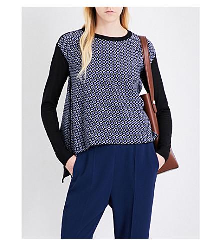 STELLA MCCARTNEY Tie-print silk crepe de chine and wool-blend jumper (Black/+blue+winter