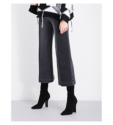STELLA MCCARTNEY Contrast-panel cropped high-rise jeans (Black