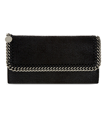 STELLA MCCARTNEY Chain trim faux-suede wallet (Black
