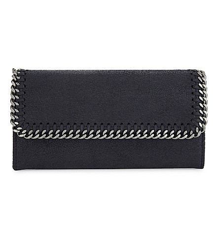 STELLA MCCARTNEY Falabella Shaggy Deer wallet (Navy