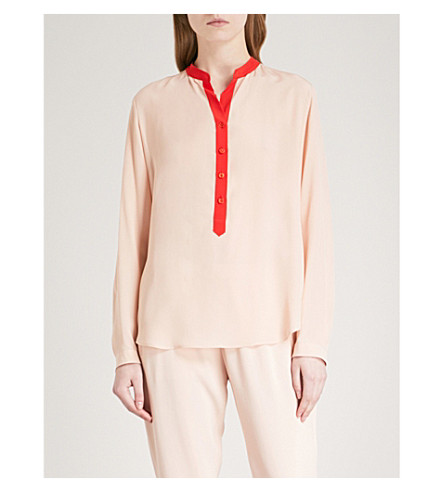 STELLA MCCARTNEY Contrast-placket silk-crepe shirt (Rose