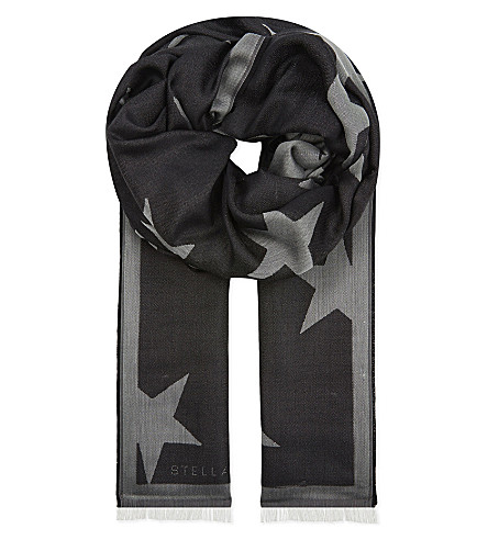 STELLA MCCARTNEY Star silk-blend scarf (Black