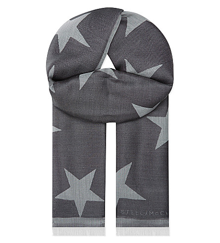 STELLA MCCARTNEY Star silk-blend scarf (Blk