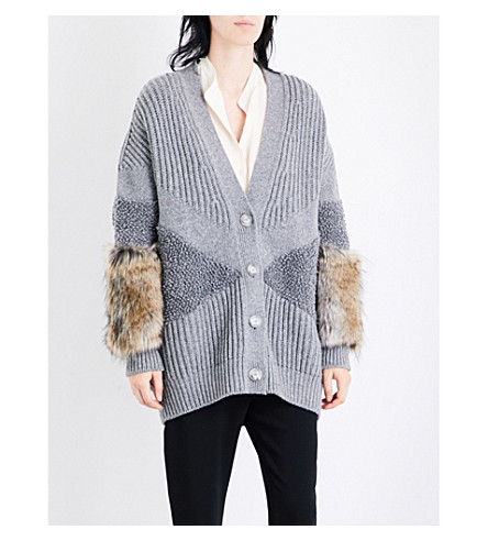 STELLA MCCARTNEY Faux-fur trim wool cardigan (Grey