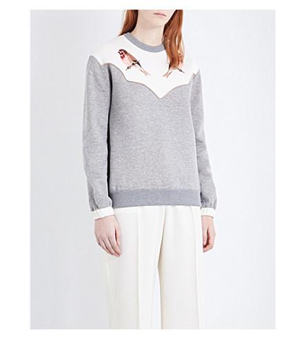 STELLA MCCARTNEY Bird-embroidered cotton-jersey sweatshirt (Grey